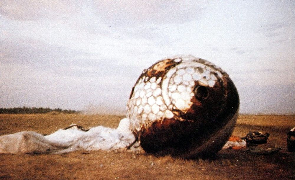 Vostok 1's reentry capsule after landing