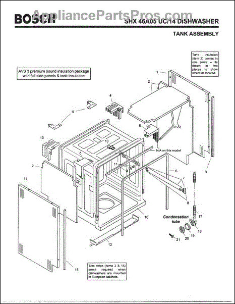 Bosch Dishwasher Silence Plus 44 Dba Parts