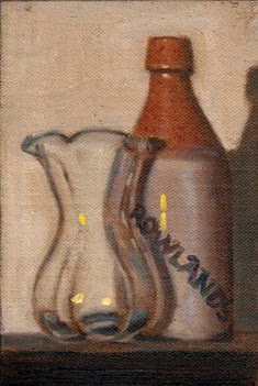 Oil painting of a glass vase beside an earthenware ginger beer bottle.