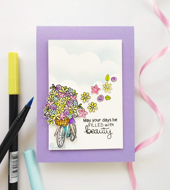 Newton's Nook designs, floral card, Tombow dual brush pens, water colouring, Quillish,  Newton's nook loads of blooms stamp set, cas card, clean and simple card