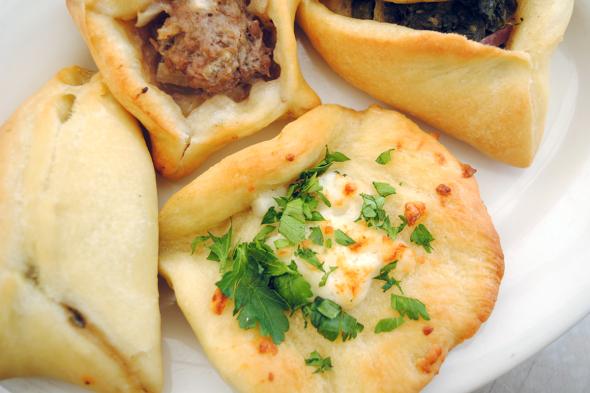 Fatayer Bi Sabanikh (Spinach Turnovers) and Sfiha (Meat Pies)