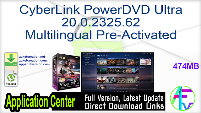 CyberLink PowerDVD Ultra 20.0.2325.62 Multilingual Pre-Activated
