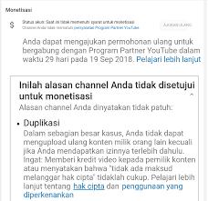 Cara ajukan ulang monetisasi youtube, monetisasi youtube 2018