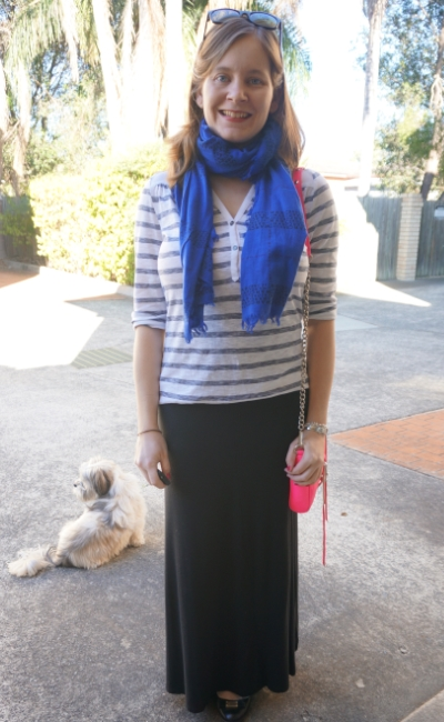 Easy SAHM style in winter: striped henley, cobalt scarf, black ejrsey maxi skirt neon pink bag | Away From The Blue