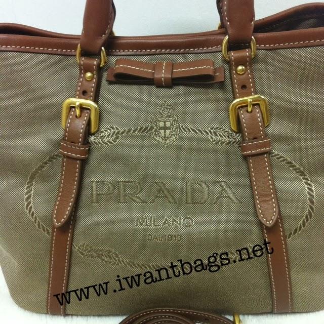 dcdaeea0669e I Want Bags backup  Prada Logo Jacquard Tote BN1841 in Corda Brandy