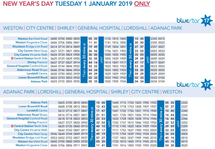 Southampton Bus Update New Year S Day 2019 Bus Service Levels
