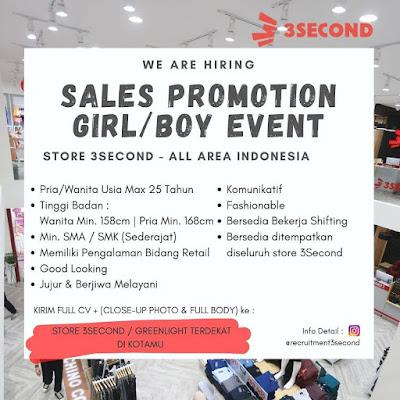 Lowongan Kerja 3Second Store Sebagai SPG/SPB