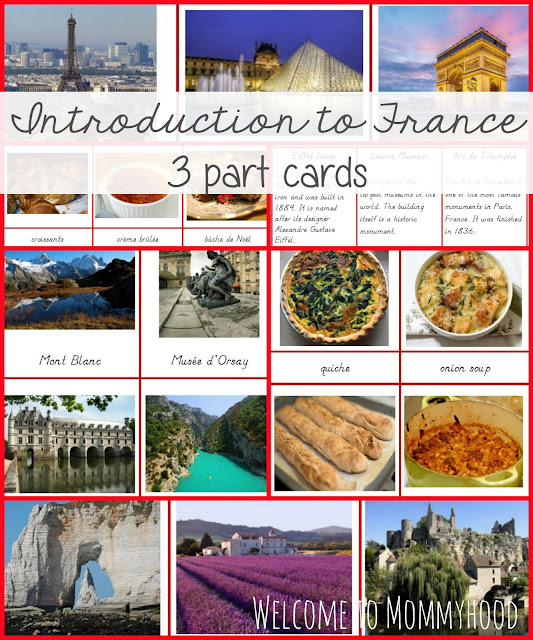Introduction to France 3 part cards by Welcome to Mommyhood #freeprintables, #homeschool, #montessori, #toddleractivities