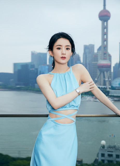 Zhao Liying Shows Off the Results of Her Tiny Waist in a Midriff Baring Dress
