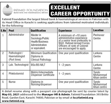 Fatimid Foundation Jobs 2021 in Pakistan