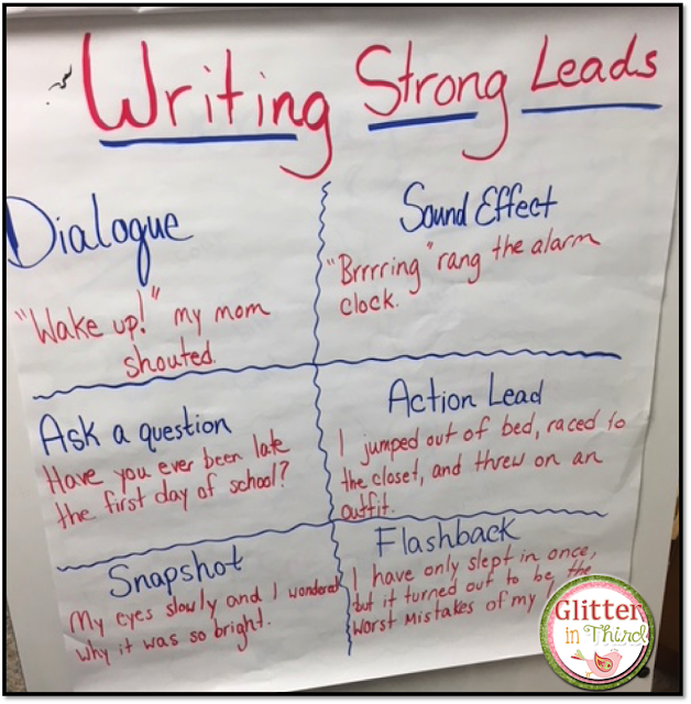 Need an anchor chart to teach writing strong leads? This one is perfect for your personal narrative unit!