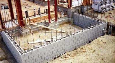جدار من الطوب الخرساني المسلحRC Hollow Concrete Wall Masonry