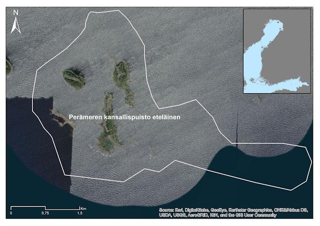 Kartta: Perämeren kansallispuiston eteläisen osan EMMA-rajaus ilmakuvan päällä, meri osittain jäässä