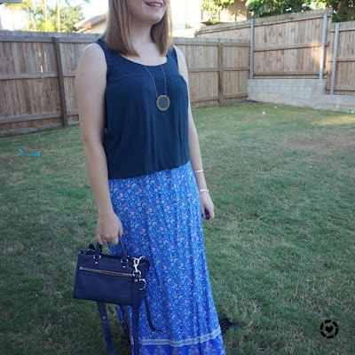 awayfromblue Instagram | monochrome navy breastfeeding outfit blue floral maxi skirt micro bedford bag