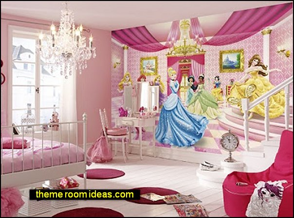 Disney Princesses Kids Wall Decor Vinyl Photo Wallpaper Nursery Wall Murals Baby Girl Room Decor Princesses in Castle