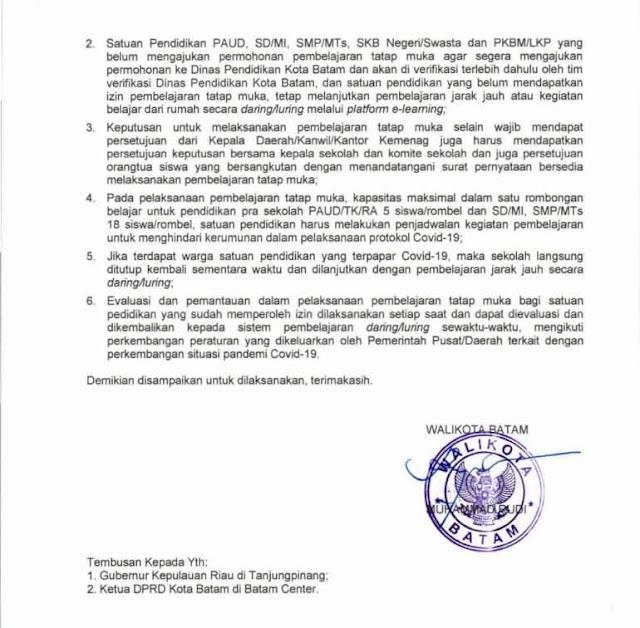 Walikota Batam Tandatangani Surat Edaran Pedoman Pembelajaran Tatap Muka