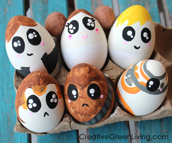 Star Wars easter eggs - Han solo, Princess Leia, porg, chewbacca, BB8, young luke skywalker