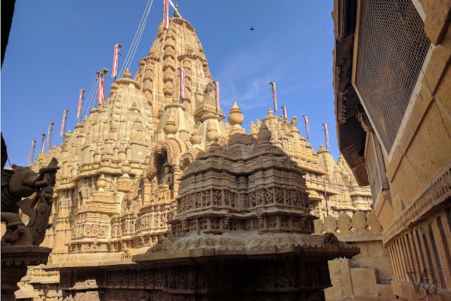 Yellow sandstone Jain temple complex inside the fort