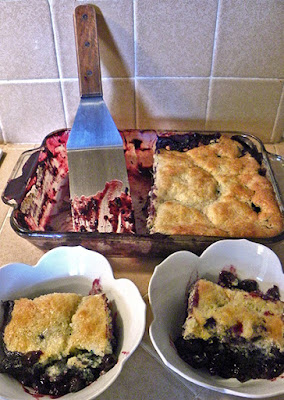 Pan of baked blueberry cobbler and two serving dishes