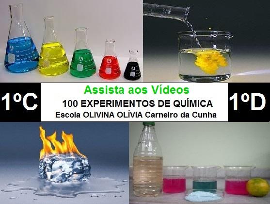 Experimentos de Química dos alunos (1º C e D) da Escola Olivina Olívia Carneiro da Cunha
