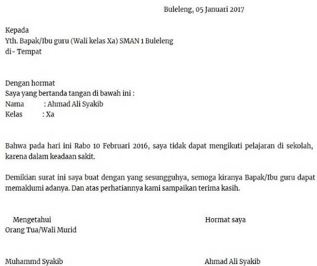 Contoh Surat Sakit Sekolah Buatan Sendiri (via: suratku.id)