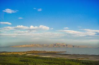 Prairie, lac et montagne