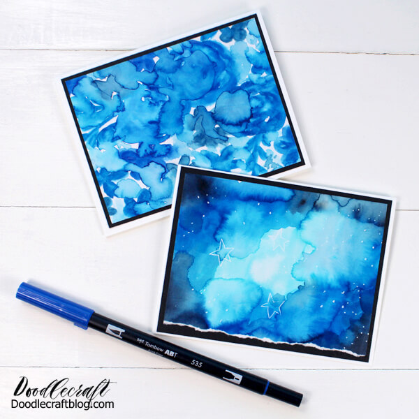 Handmade cards made with shades of blue in a stunning galaxy watercolor technique.