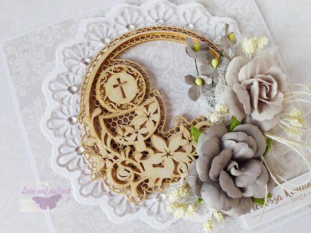 tekturka -ramka z kielichem i kwiatami