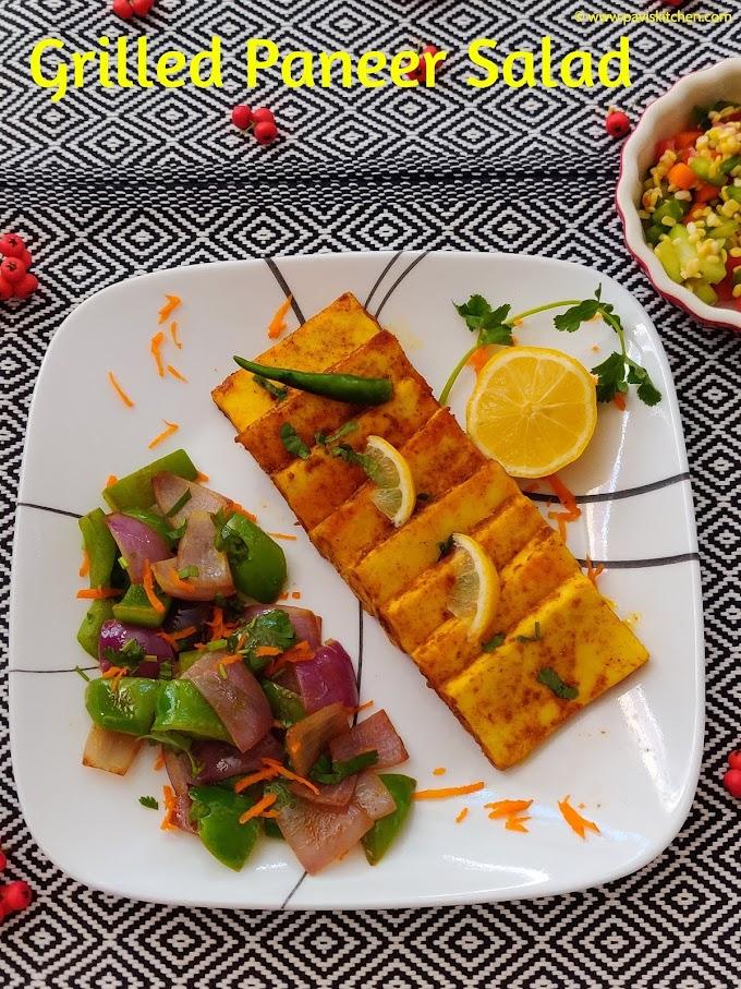 grilled paneer salad | sauteed paneer recipe | veggie paneer platter
