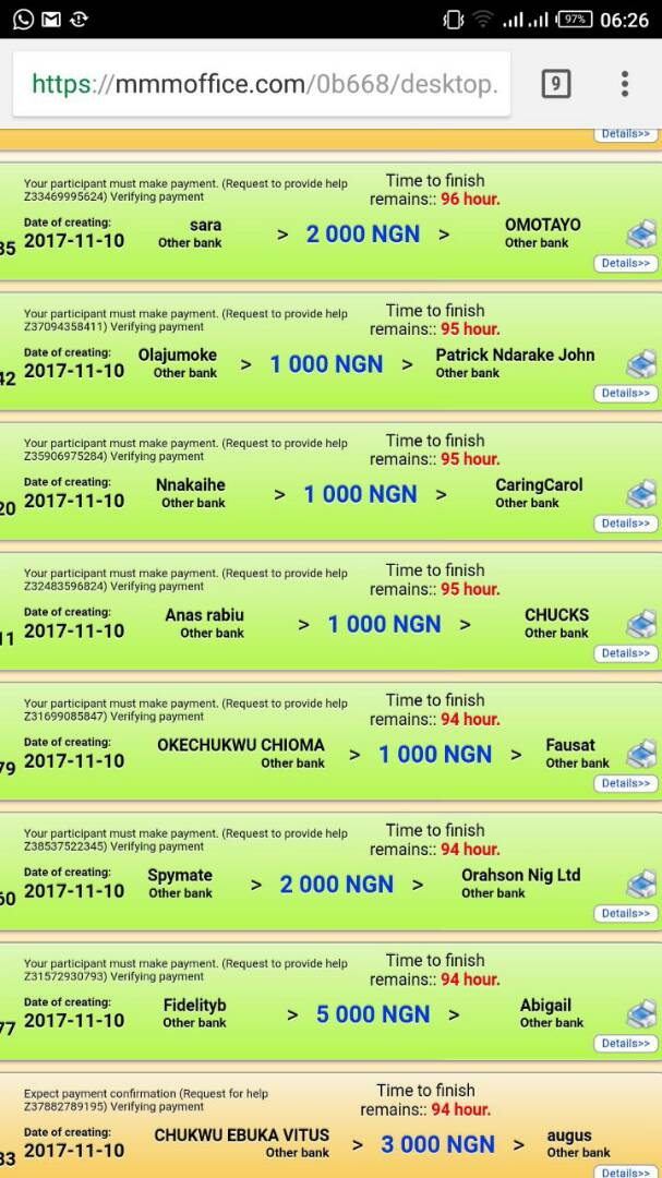 MMM Nigeria start payment again after restart (see proof)