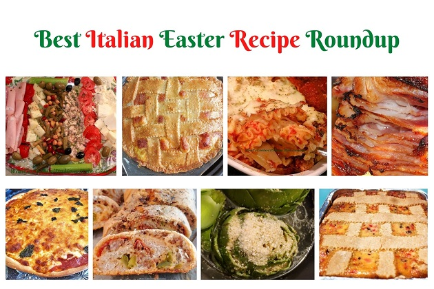 this is a collage of Italian Easter Traditionally foods made on Easter Sunday