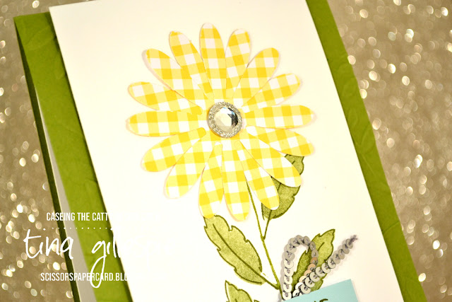 scissorspapercard, Stampin' Up!, CASEing The Catty, Daisy Delight, Fabulous Flamingo, Gingham Gala, Layered Leaves 3DTIEF, Daisy Punch