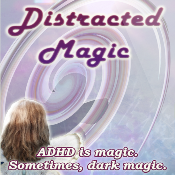 "cover of ""Distracted Magic"" featuring the back of a winged woman, her shadow falling on an abstract whirlwind in lilac shades"