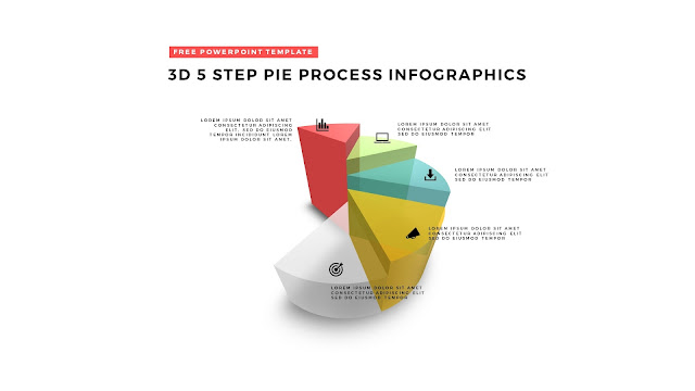 5 Step 3D Pie Chart Design Elements for PowerPoint Templates