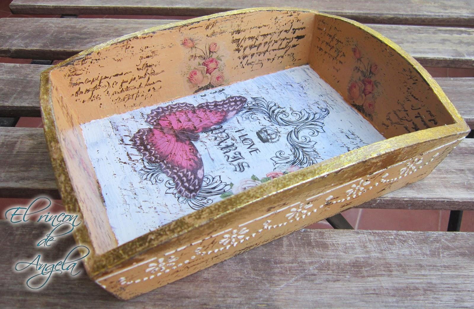 El rincon de angela decoupage y transferencia para - Decorar madera con pintura ...