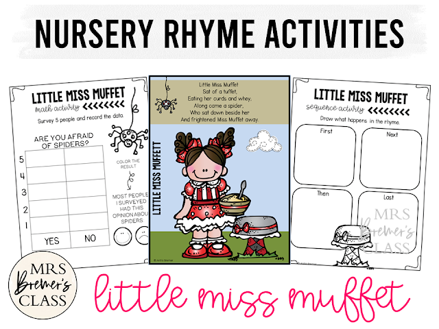 Little Miss Muffet activities unit with literacy and math Common Core aligned companion activities for Nursery Rhymes in Kindergarten