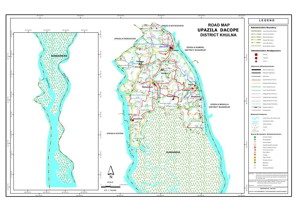 Dacope Upazila Road Map Khulna District Bangladesh