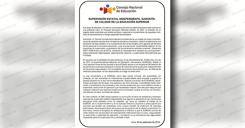 PRONUNCIAMIENTO CNE: Supervisión estatal independiente, garantía de calidad de la Educación Superior - www.cne.gob.pe