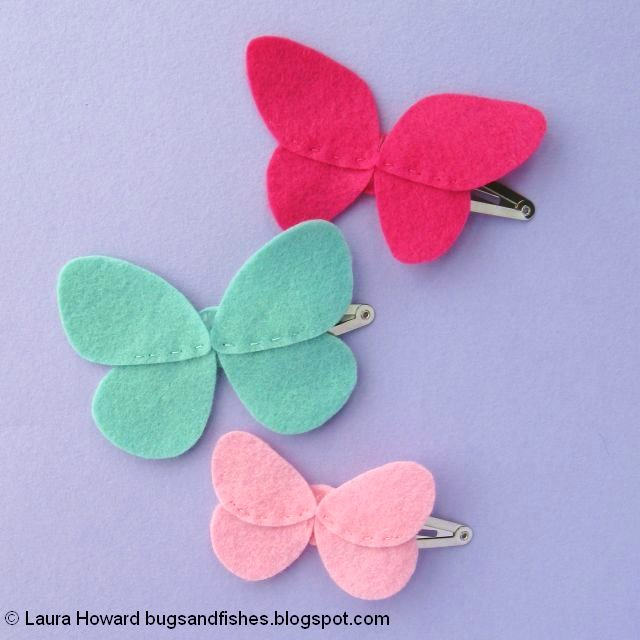 Felt Butterfly Hair Clips Tutorial: glue the wings in place