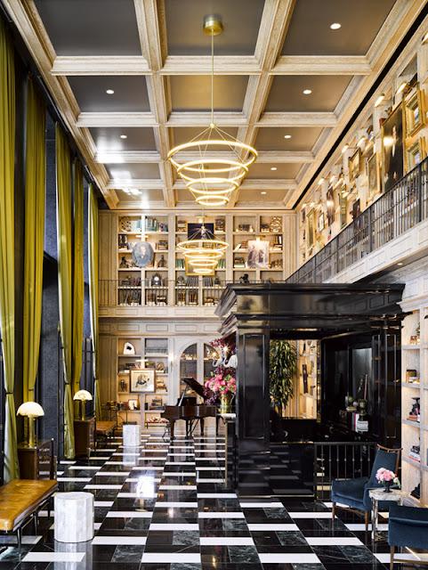 Dramatic hotel lobby Harrison marble tile Ken Fulk