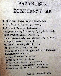 Rota Przysięgi Żołnierza Armii Krajowej Fot. niezlomni.com
