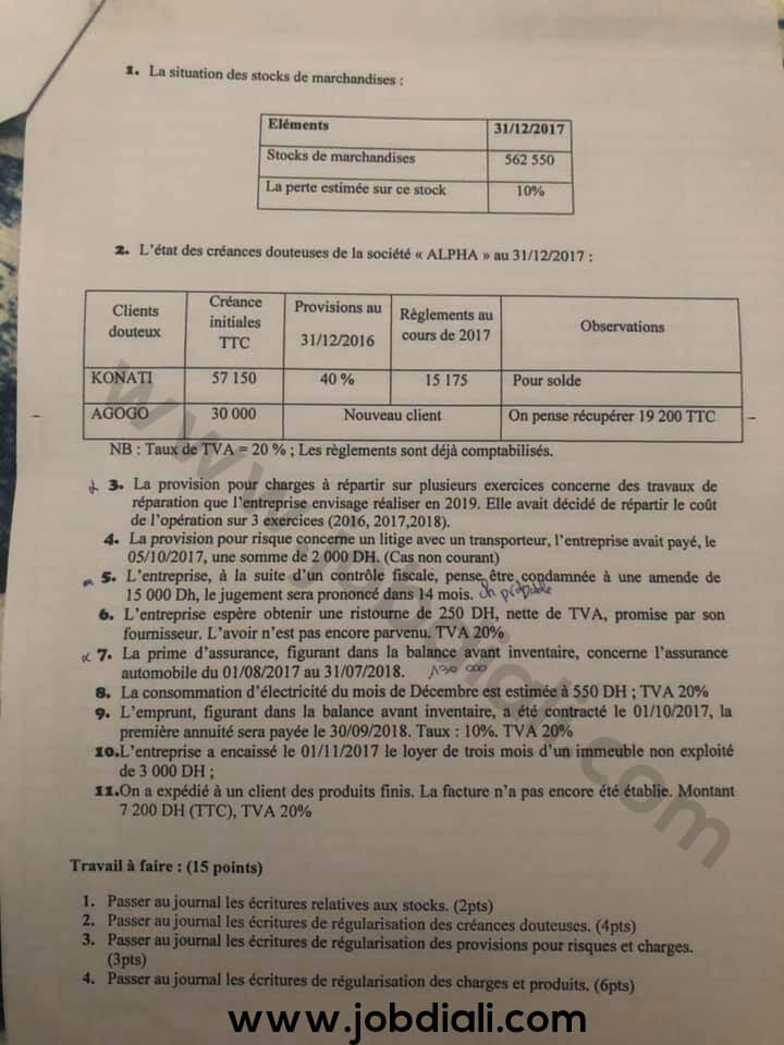 Concours ONEE BRANCHE EAU Gestion Financière et Comptable 2019 - ONEP