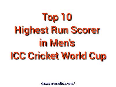 Top 10 highest Run Scorer in Men's ICC Cricket World Cup