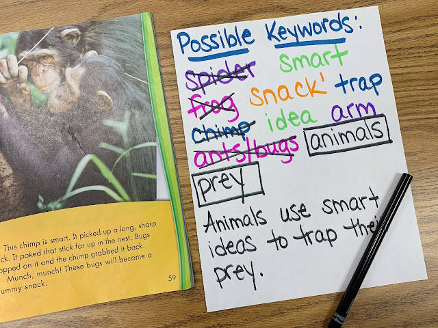 Text showing a picture of chimps and possible keywords paper with main idea sentence added