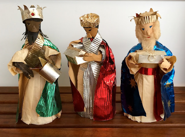 Three Wise Men Handmade by Beryl Mann for a colleague, mid-20C, Melbourne, Australia.