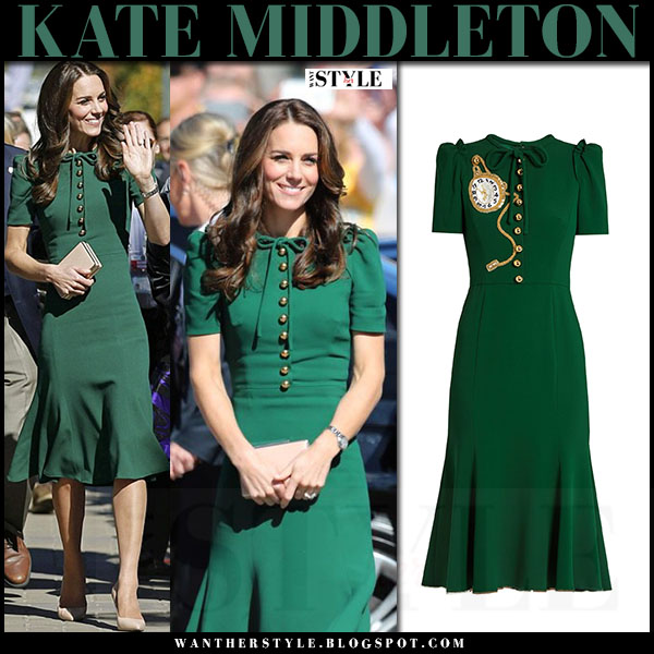 Kate Middleton in green midi dress dolce and gabbana in Kelowna canada royal tour 2016 what she wore