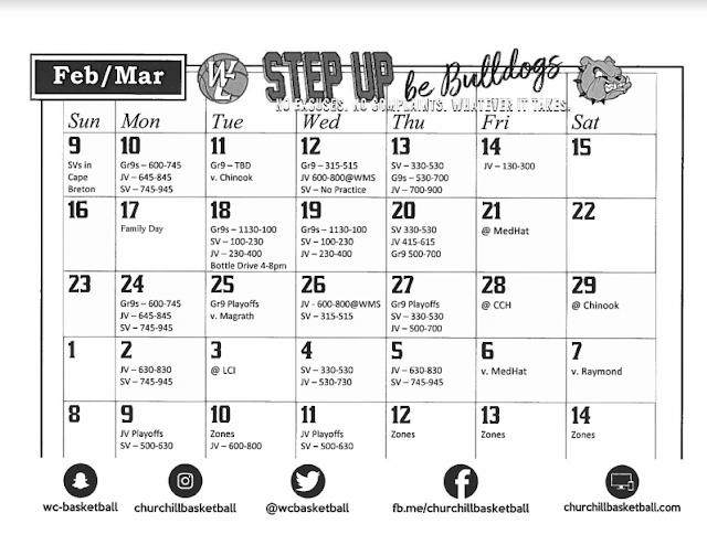 February-March 2020 Schedule