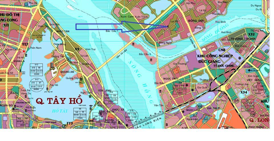 Bản đồ quy hoạc xây dựng Cầu Tứ Liên - Huyện Đông Anh và Tây Hồ