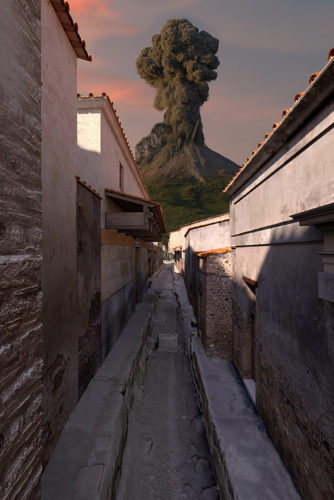 Reconstitution rue avec vue sur le volcan