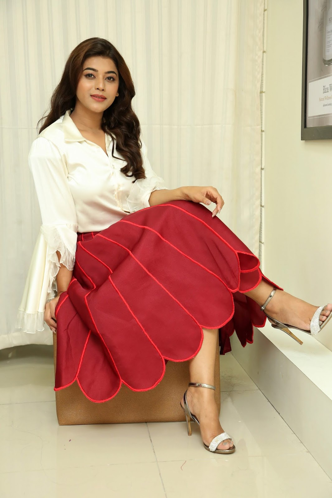 Yamini Bhaskar's Feet In Red Skirt